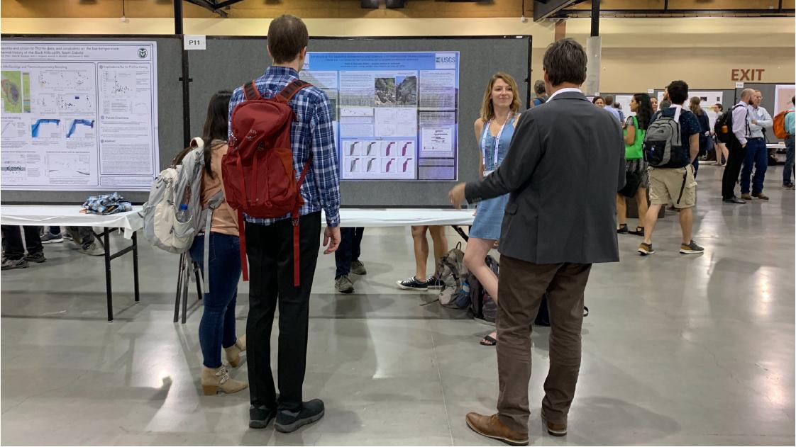 Graduate student Aislin Reynolds presenting research from the Anaconda Range, Montana