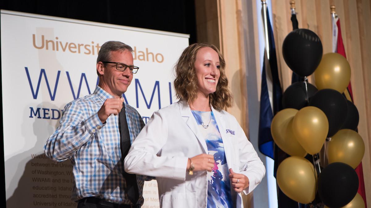 A future physician at the Idaho WWAMI White Coat Ceremony.