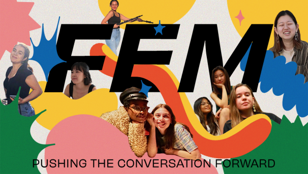 "Text that says ""FEM"" in the middle with different colored shapes and FEM members layered in the back"