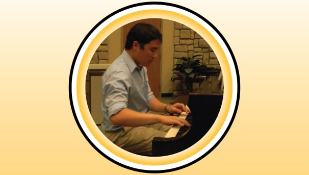 Mitchell Schnure playing the piano