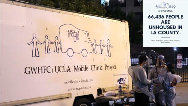 UCLA Medical students next to Mobile Clinic truck