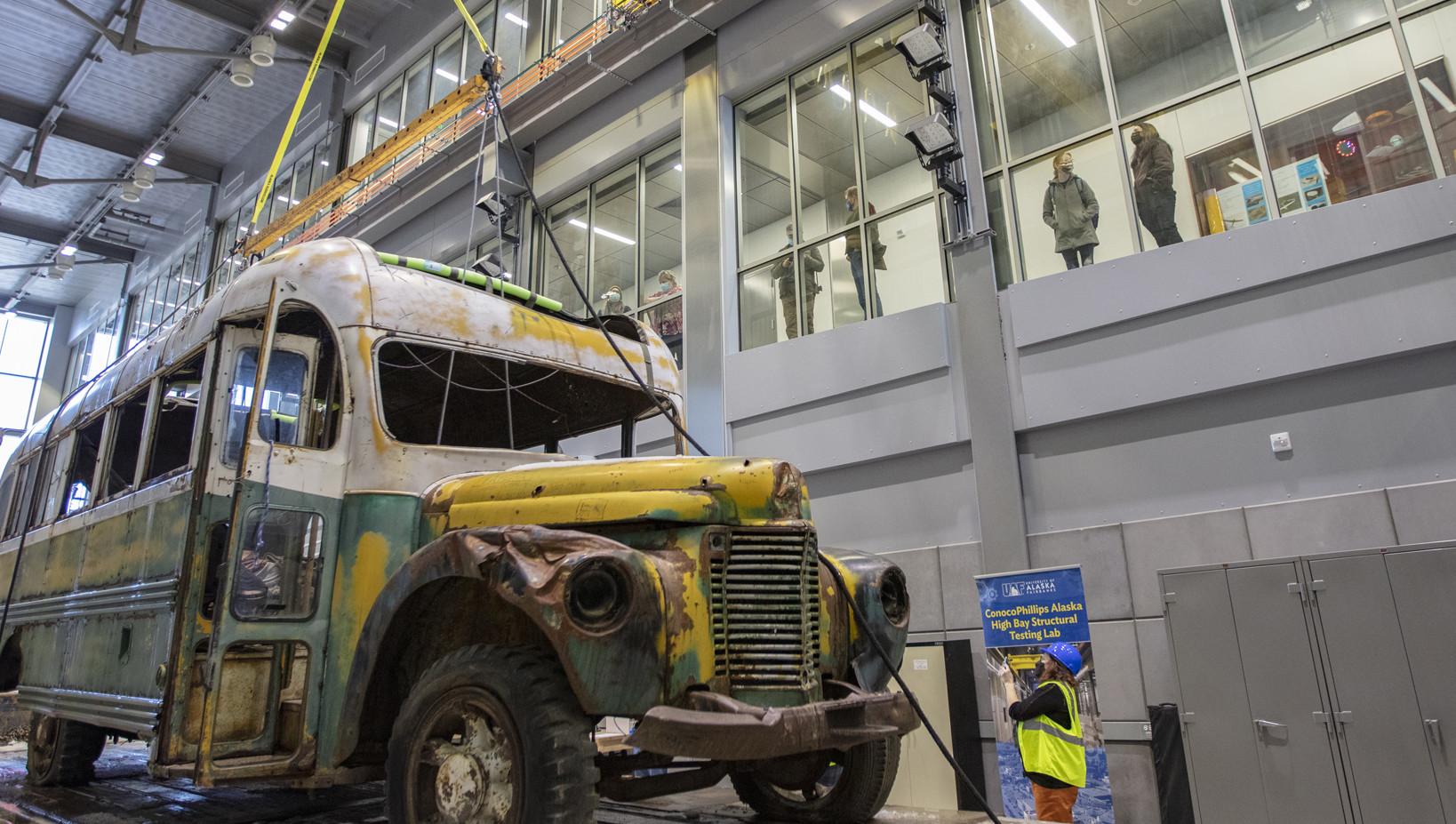 Bus 142 in UAF Engineering Building for conservation work