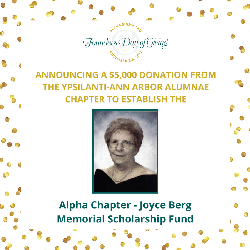 Image for Update: Announcing the Alpha Chapter - Joyce Berg Memorial Scholarship Fund
