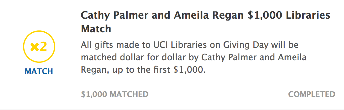 Image for Update: UCI Libraries has raised $3,825 from 25 gifts!