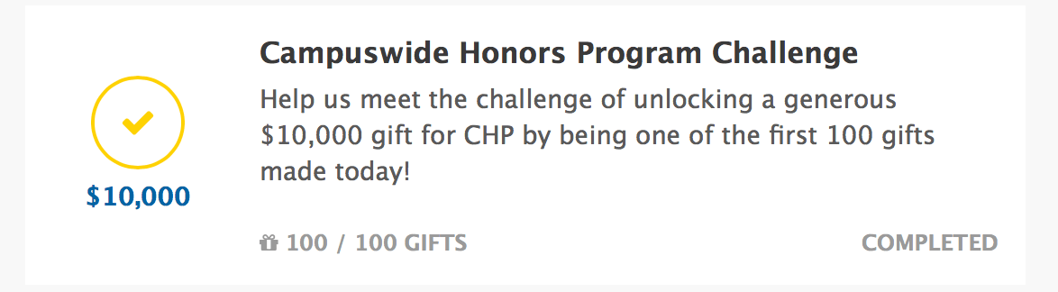 Image for Update: Campuswide Honors Program Challenge MET!