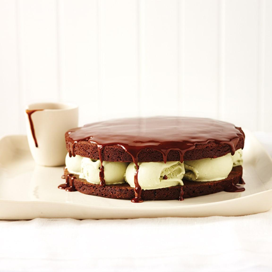 Chocolate and pistachio ice cream cake with hot chocolate sauce