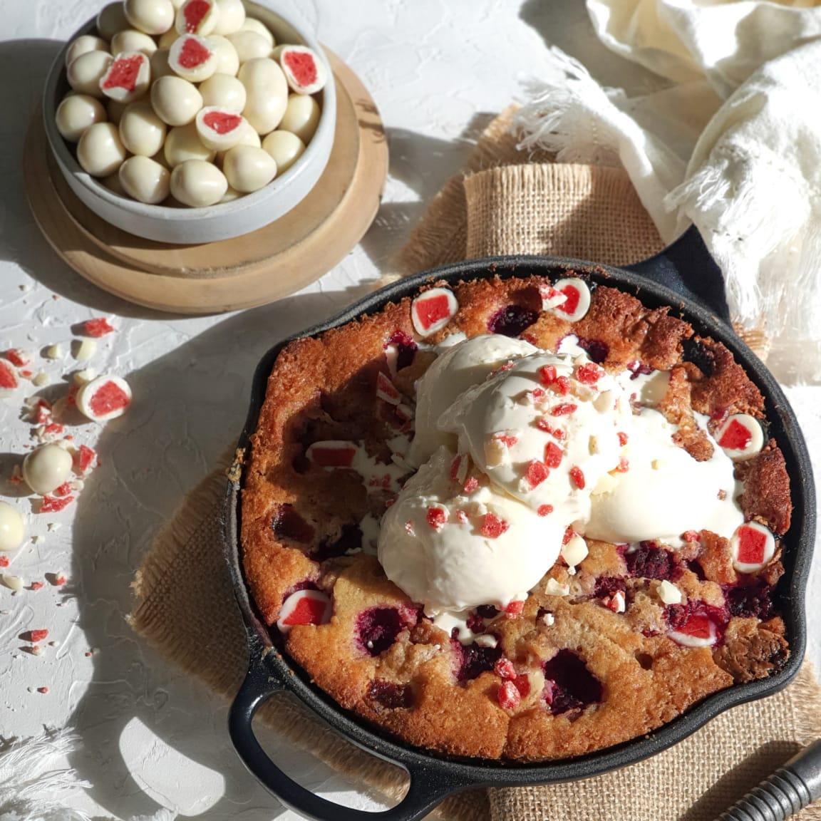 Recipe: White Choc Raspberry FruChoc cobbler