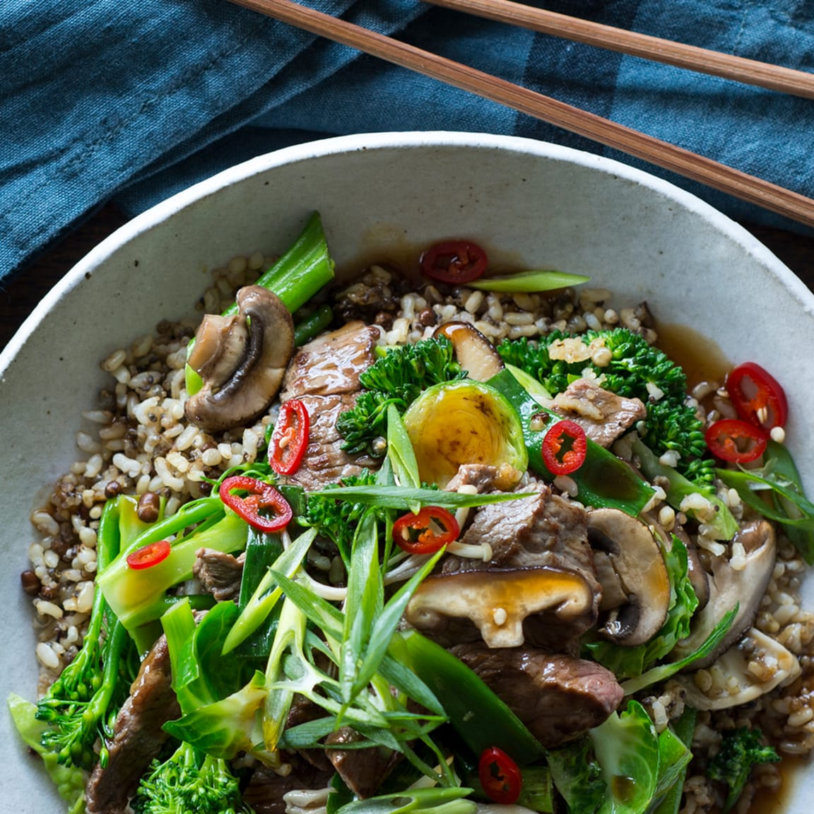 Beef, mushroom & ancient grain stir-fry