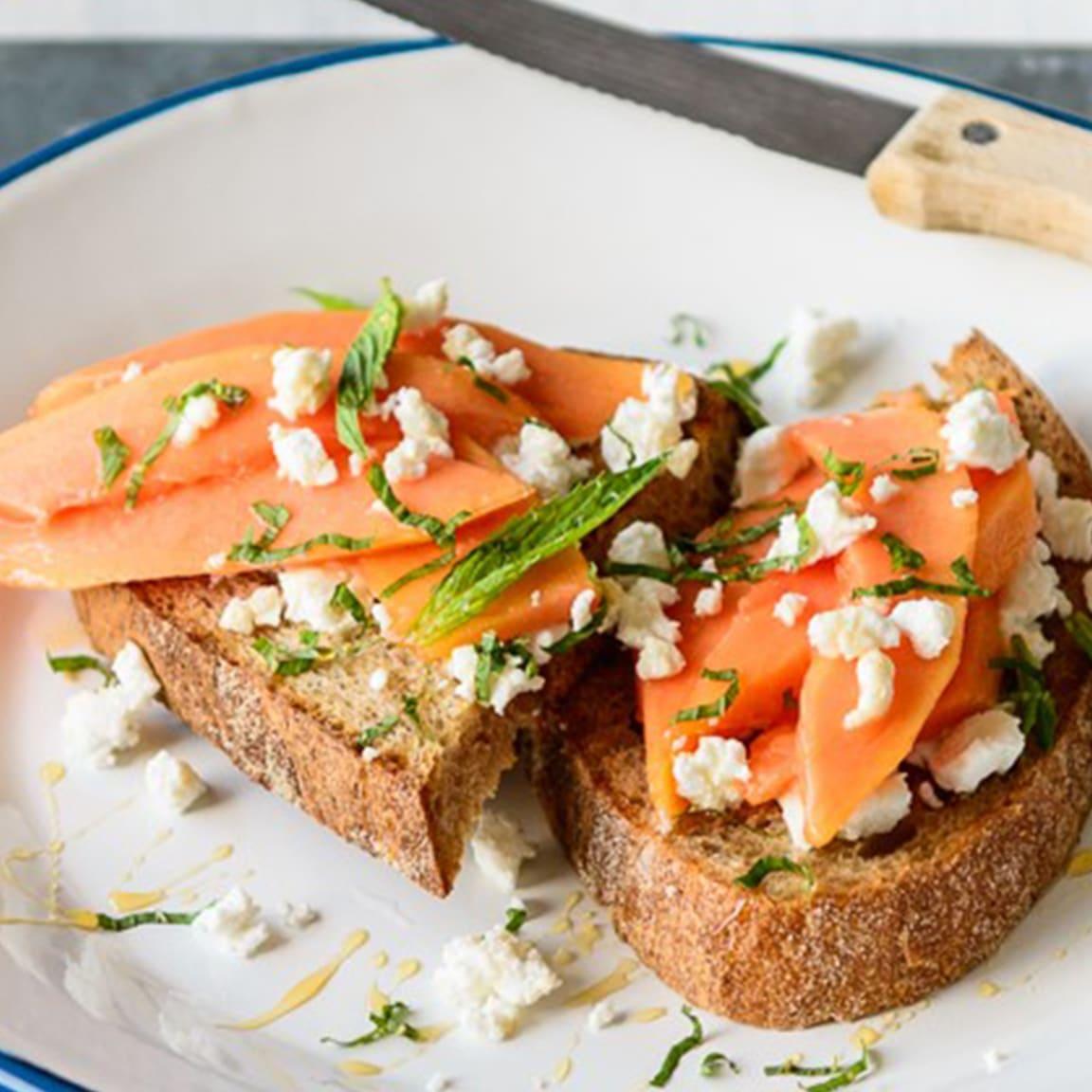 Recipe: Papaya, Goat Cheese and Honey Toast