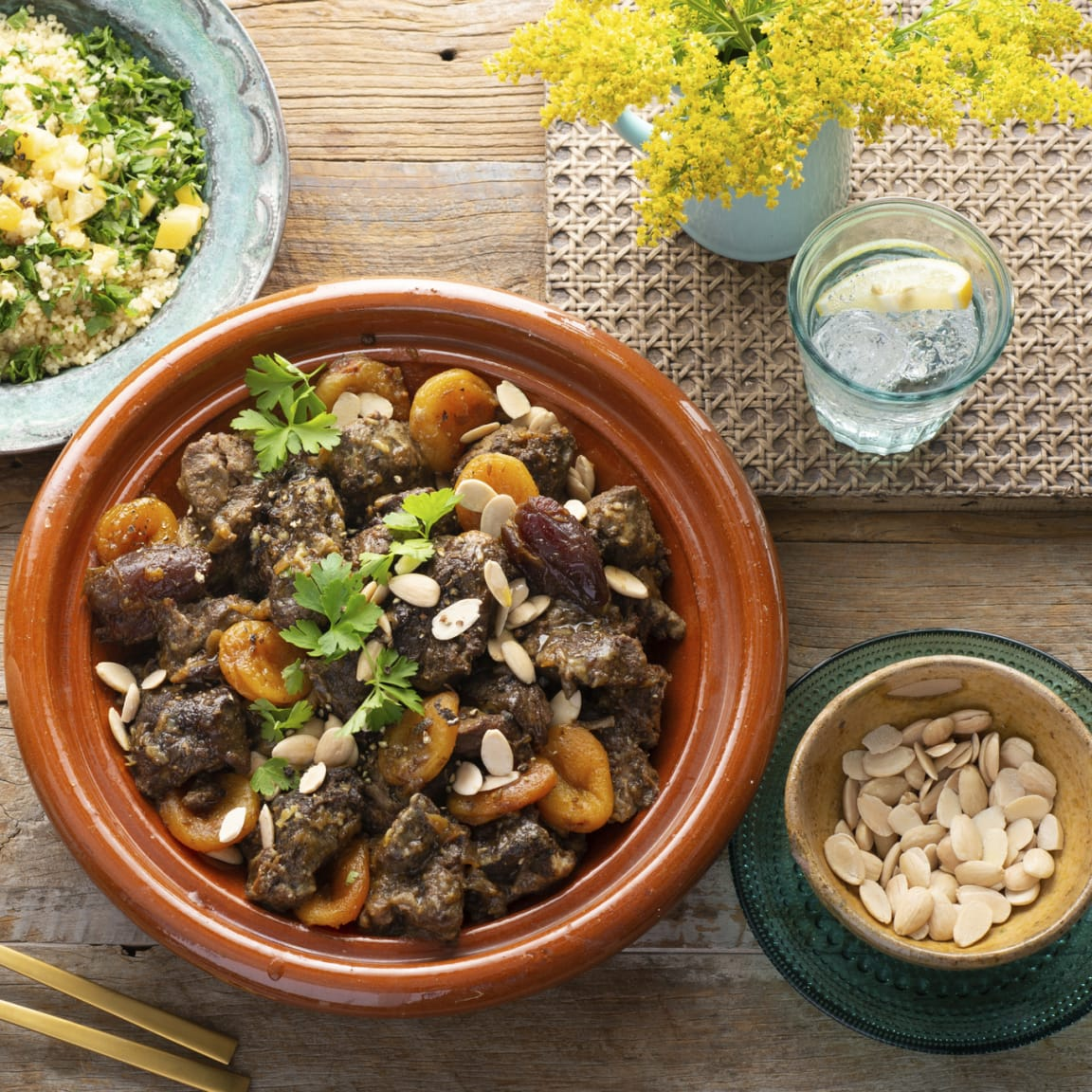Recipe: Lamb, date and apricot tagine with herbed couscous