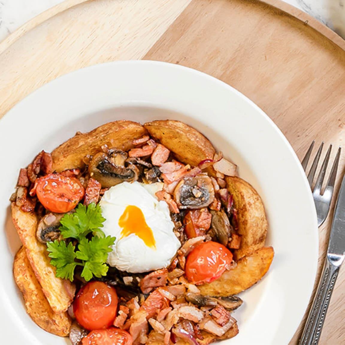 Shingle Inn: $13.90 Potato hash