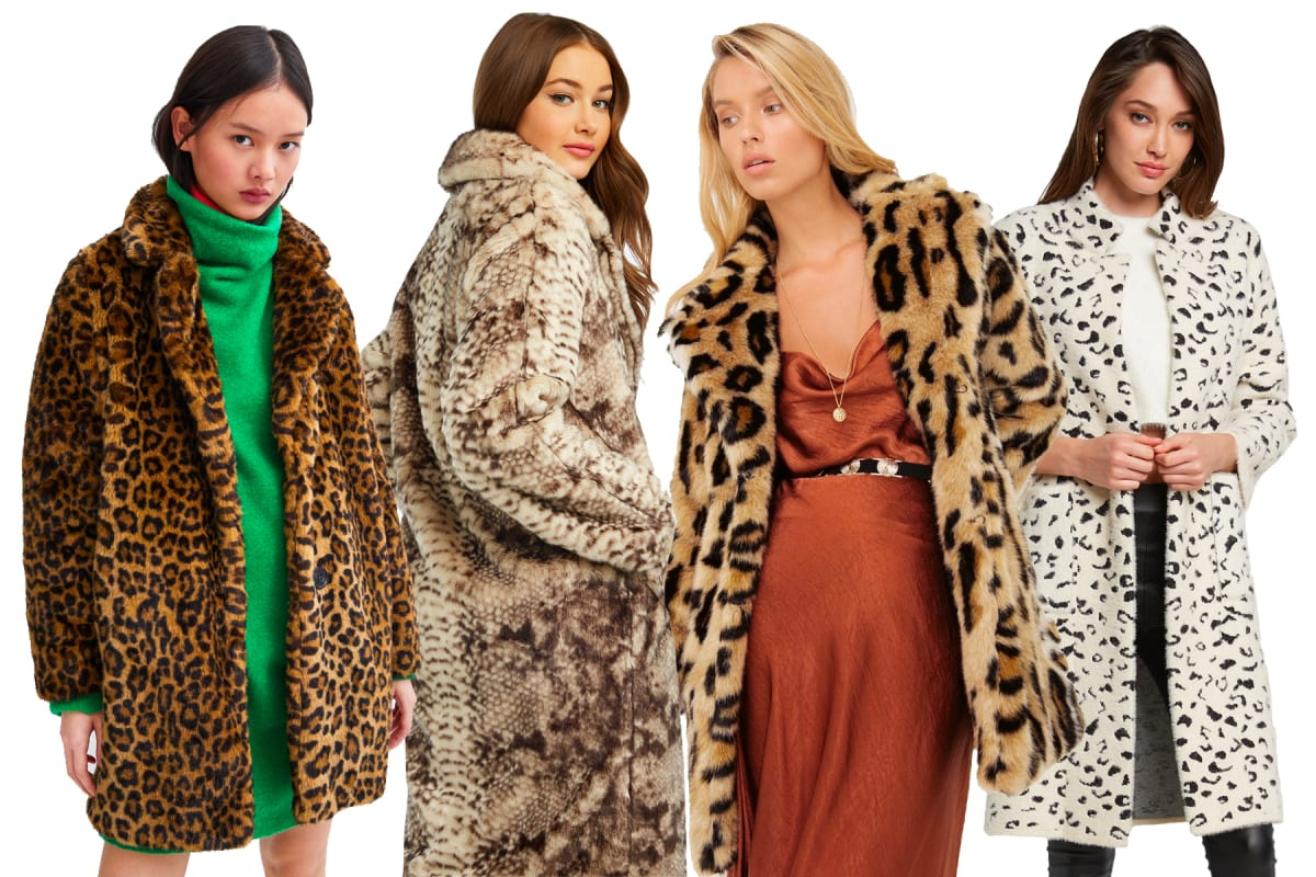 257eecf93b9e Pictured, left to right: Zara leopard print coat, Bardot faux fur snake coat,  Sheike leopard faux fur coat, Bardot leopard coatigan.