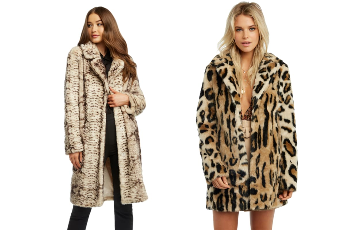 d33bc9d06e9c Pictured, left to right: Bardot faux fur snake coat and BARDOT LEOPARD FAUX  FUR COAT.