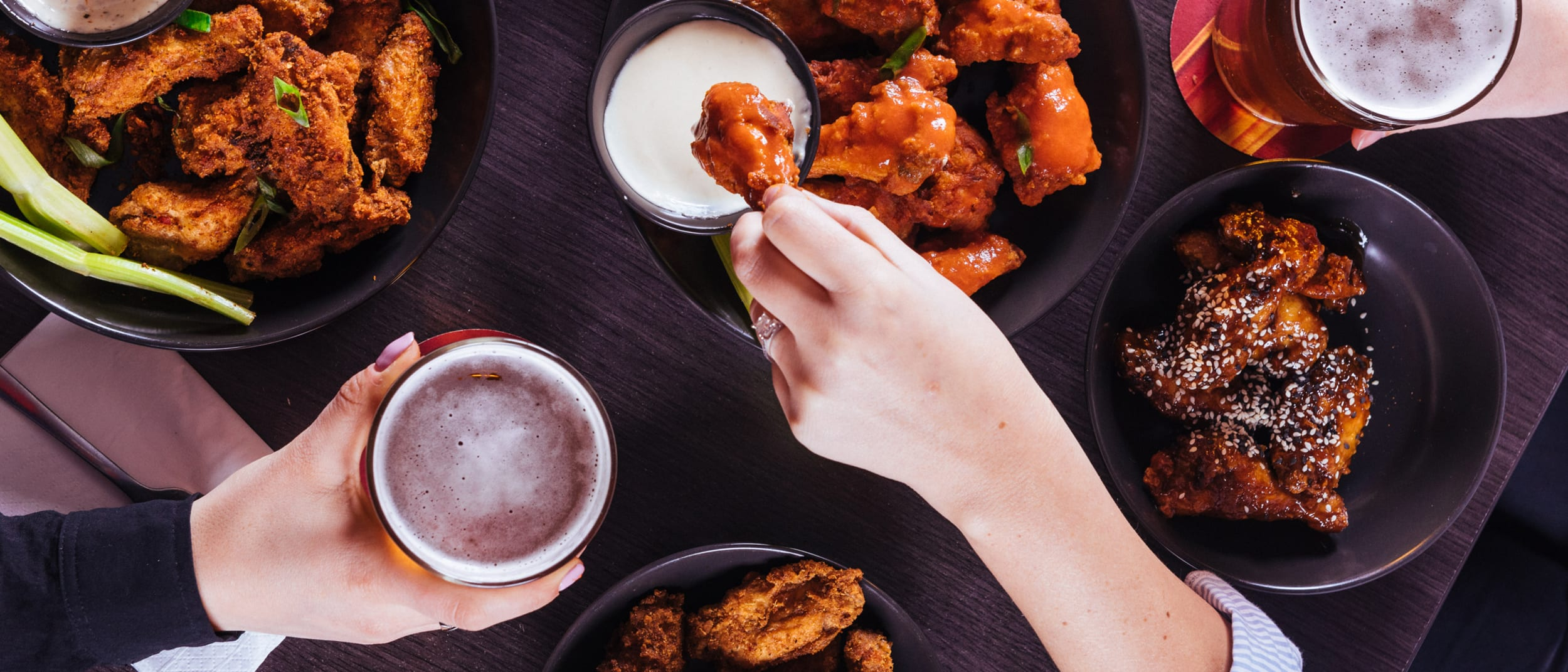 Half price wings, ribs & pints every Monday all day!