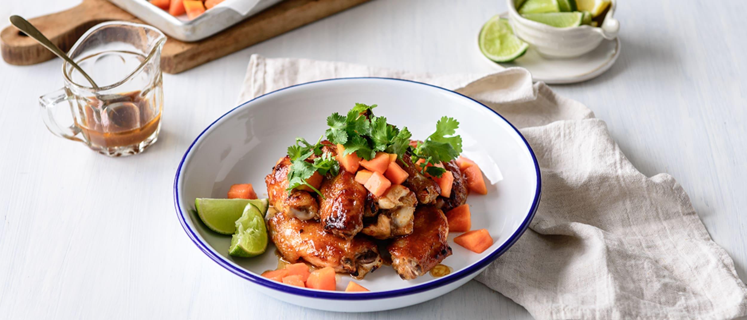 Sticky Papaya Chicken Wings