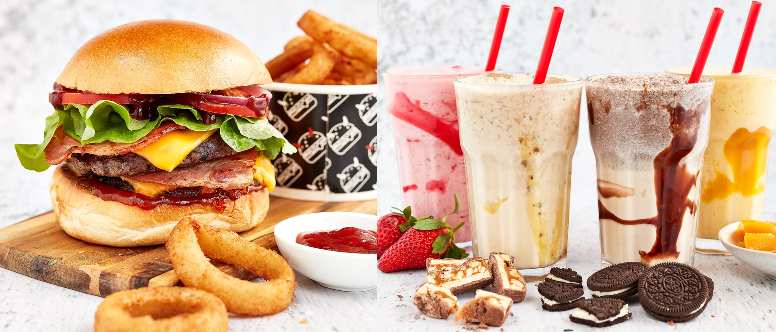 Burger and milkshakes