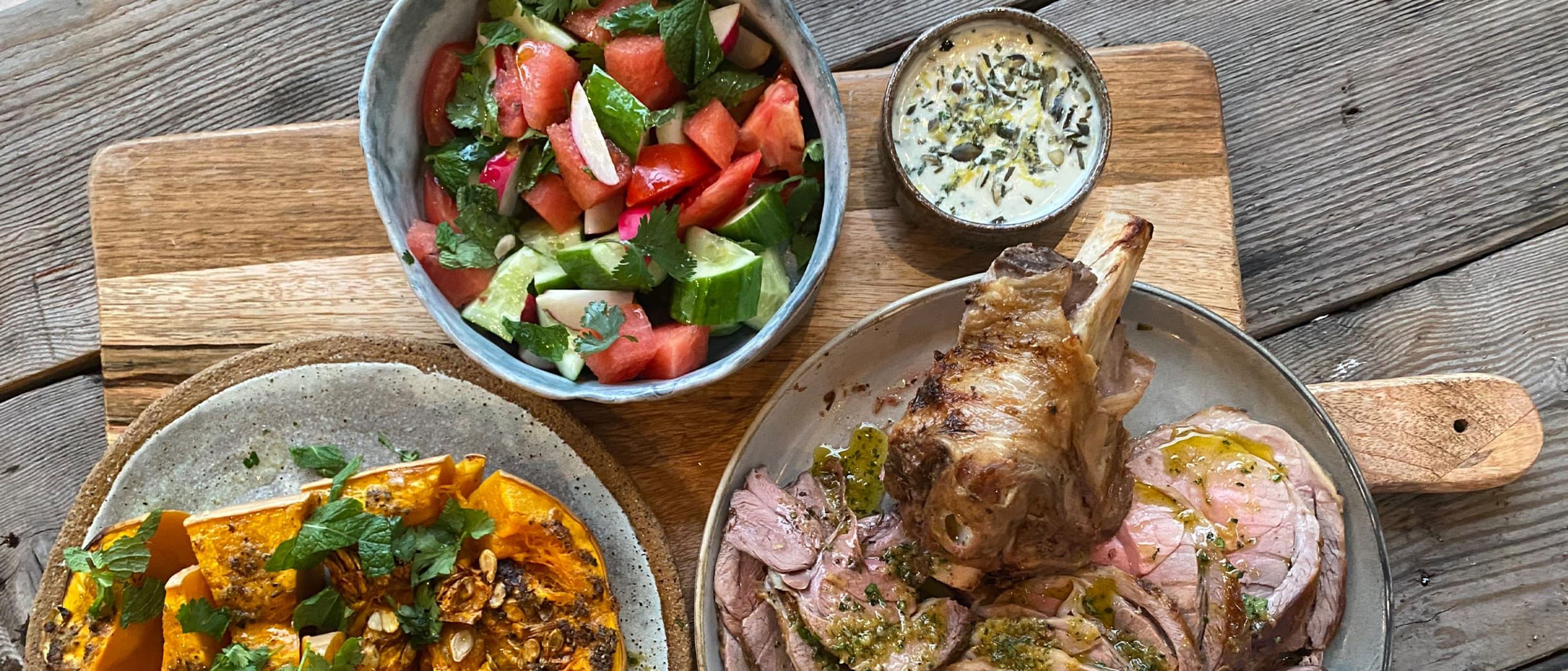 Winter feast: Roast lamb, butternut pumpkin and watermelon salad