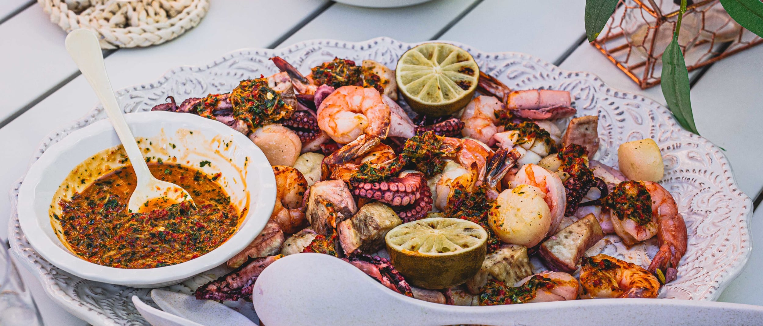 Spring Sunday Series: Baked seafood with coriander chimichurri