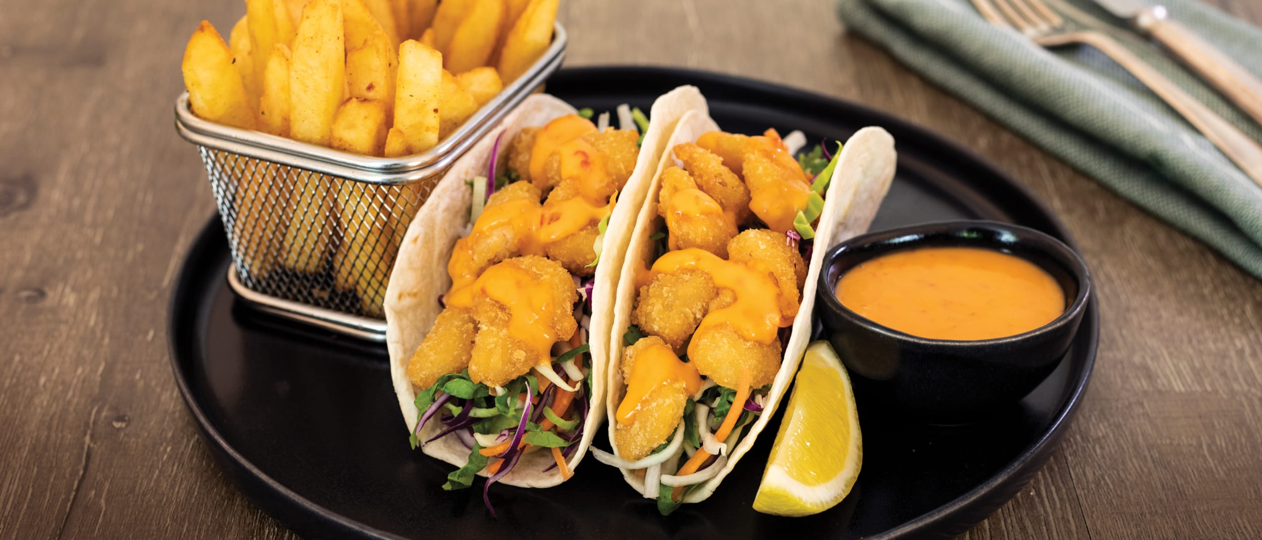 Popcorn shrimp soft shell tacos from Coffee Club