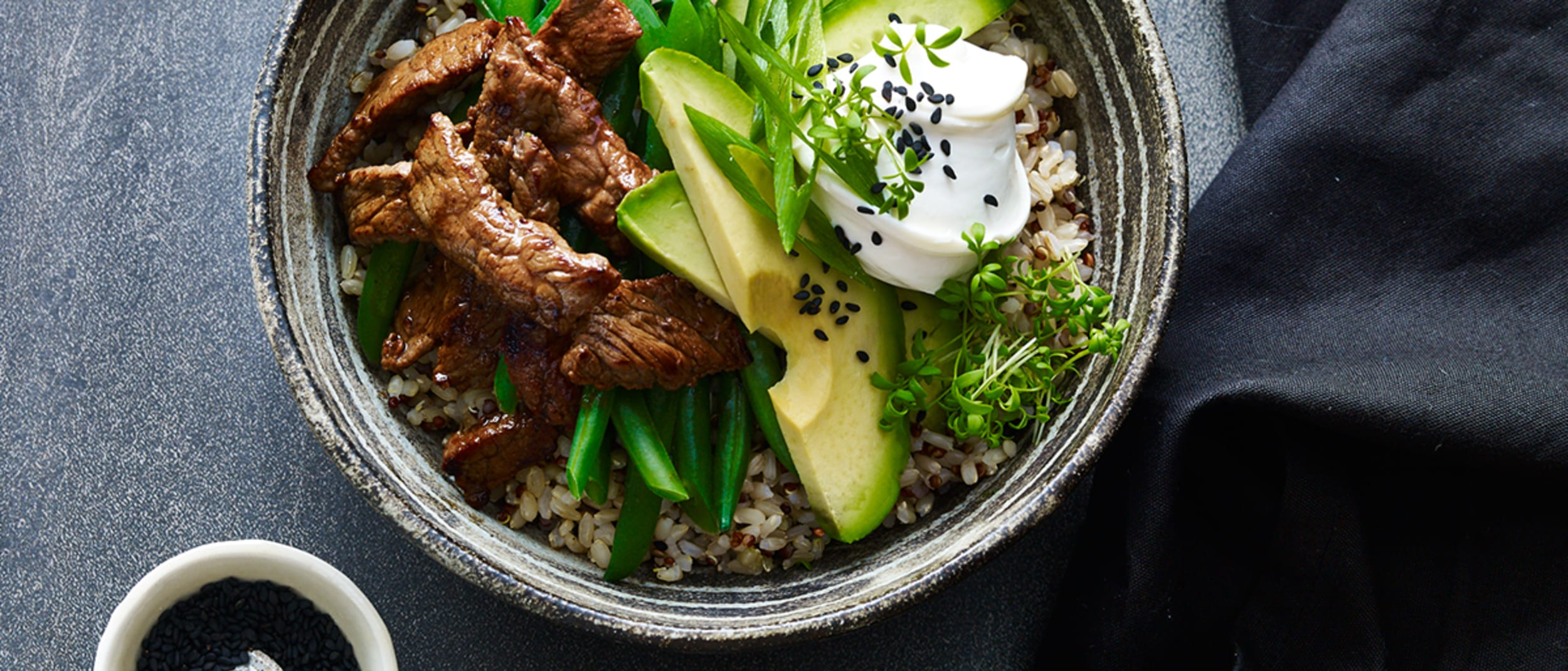 Sesame beef, avocado and labne poke bowls