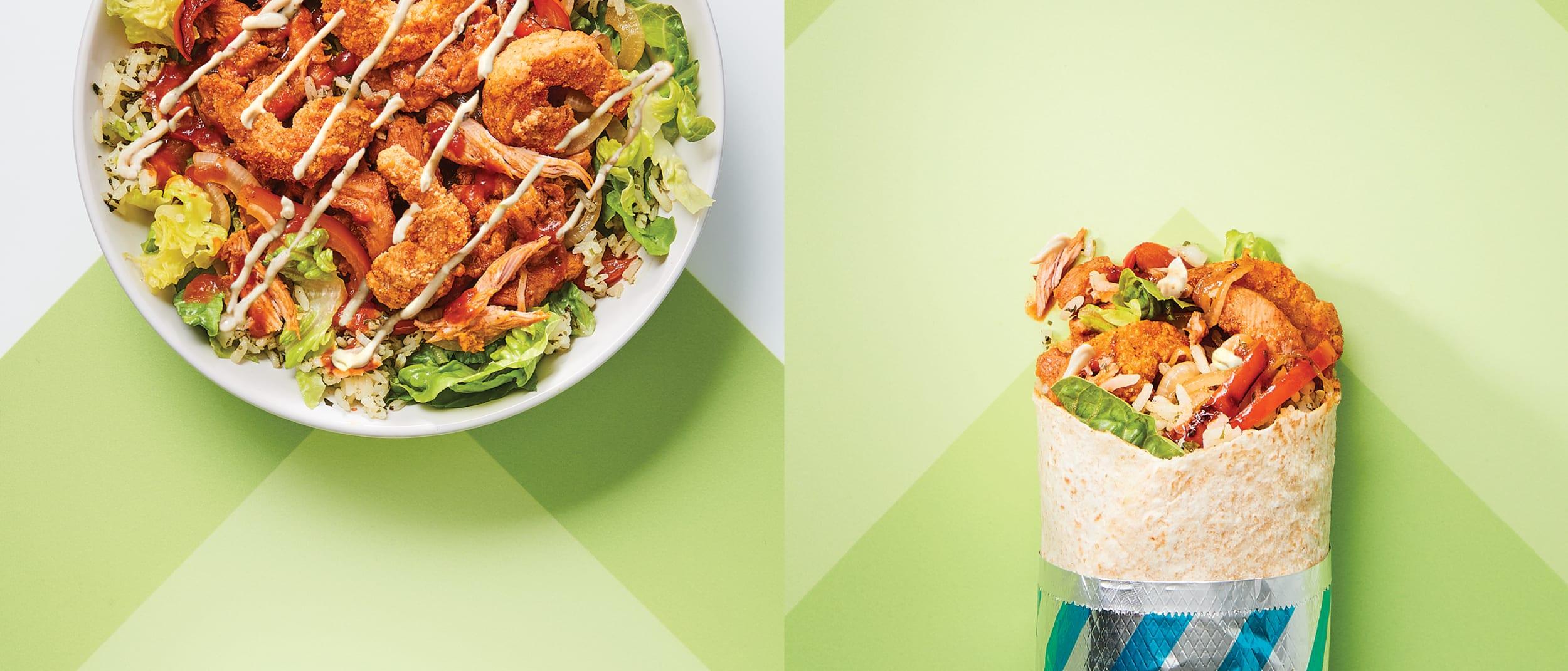 Salsas: Chicken and prawn burrito or bowl