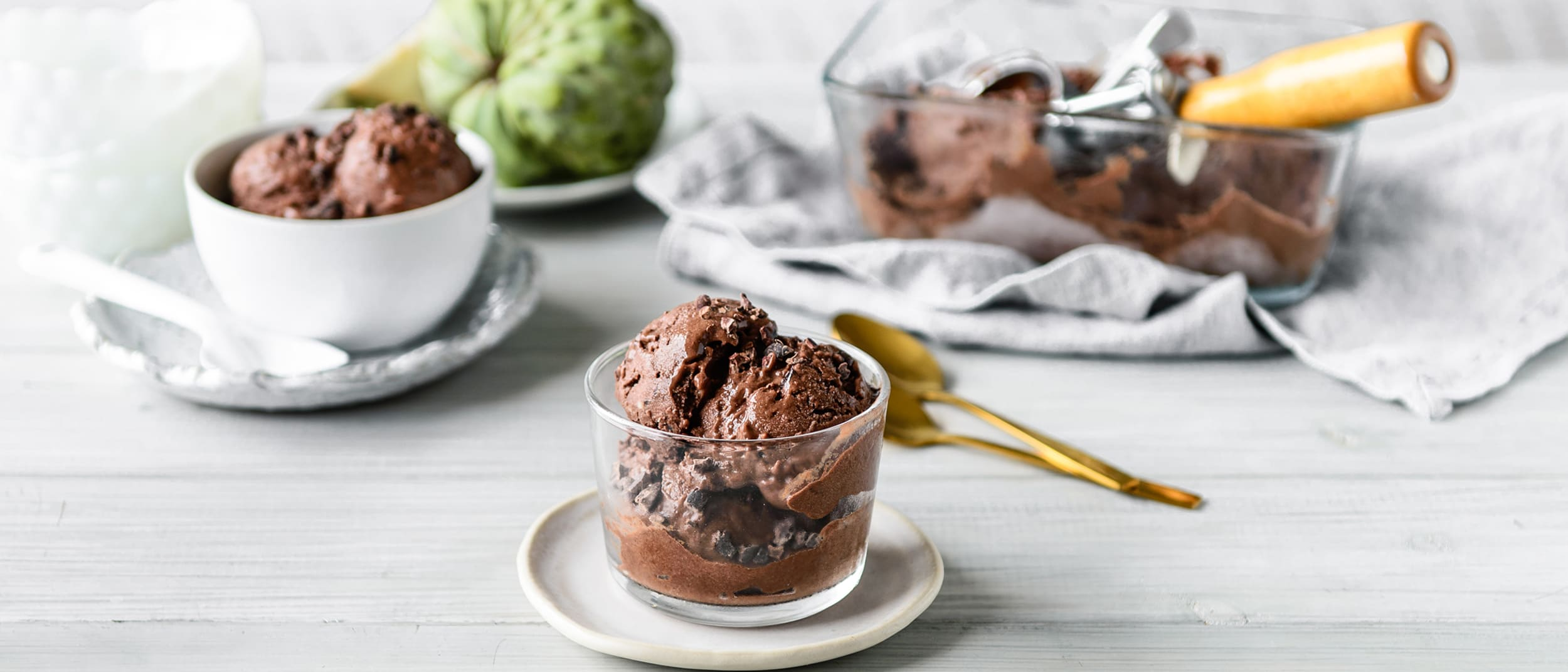Easy chocolate custard apple sorbet