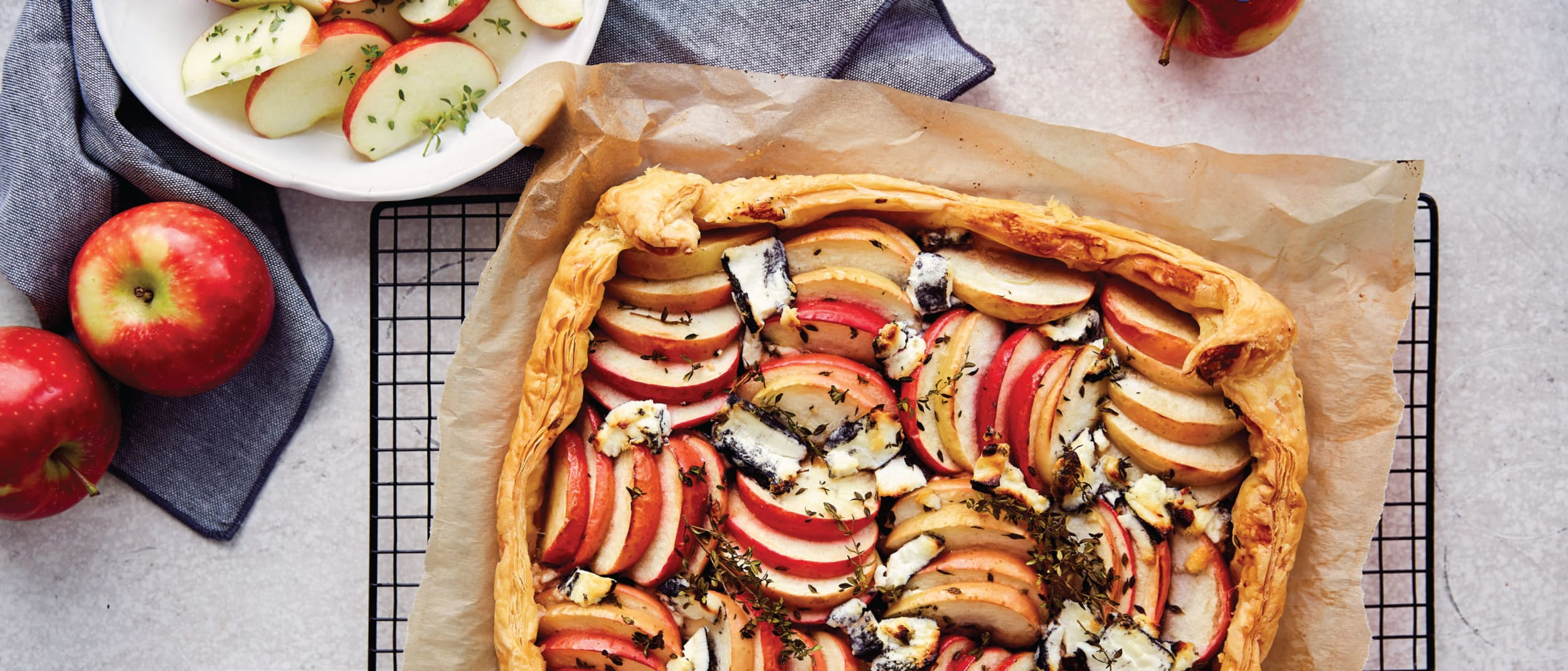 Kanzi apple, caramelised onion and goat's cheese galette