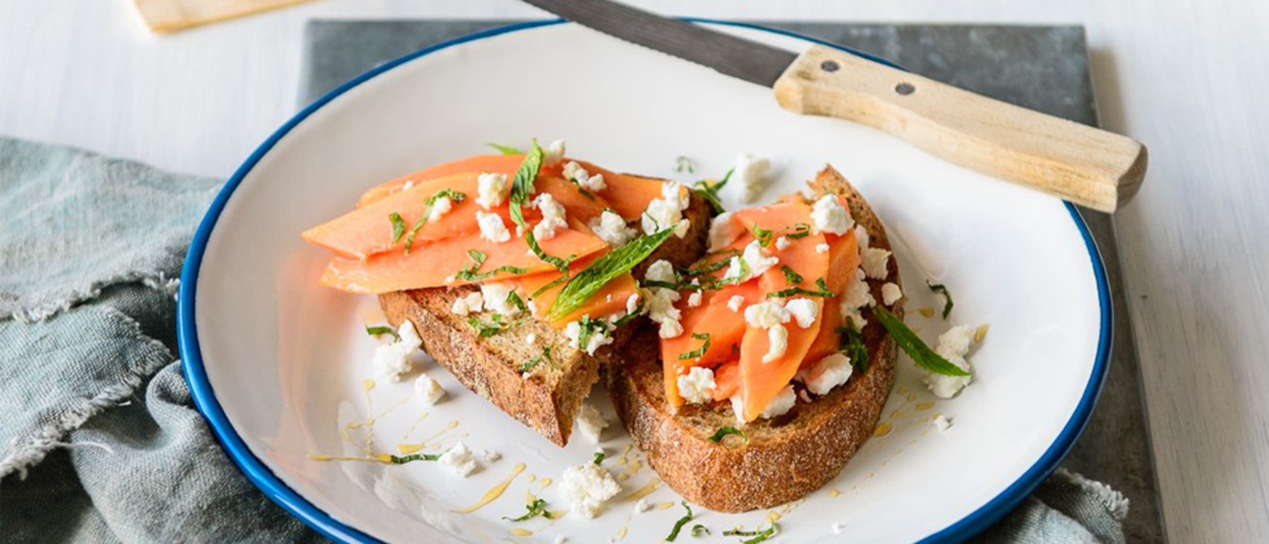 Recipe: Papaya, Goat Cheese and Honey Toast