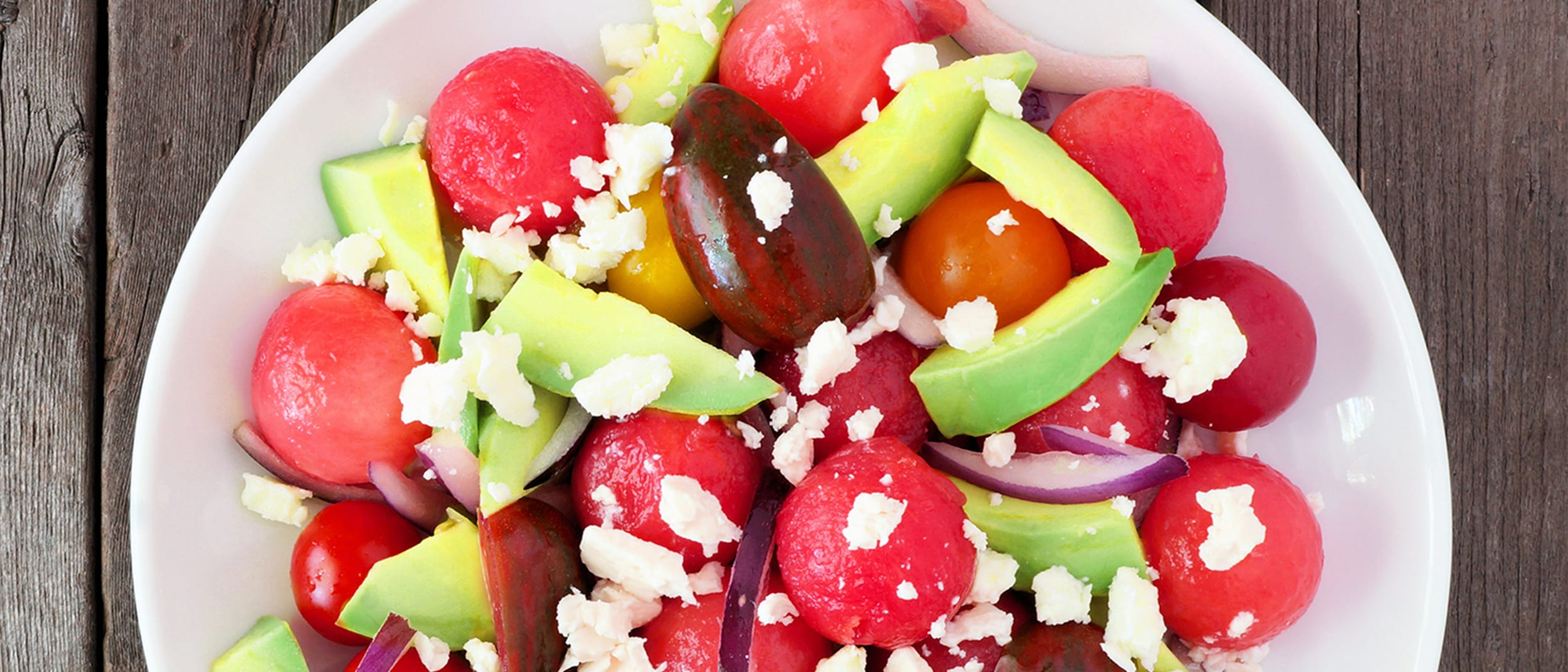 Refreshing avocado watermelon salad