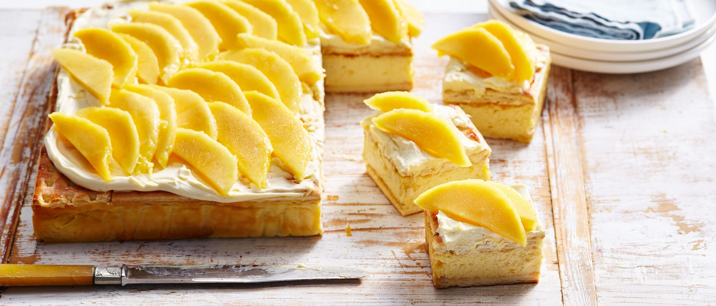 Calypso® mango cheesecake slice
