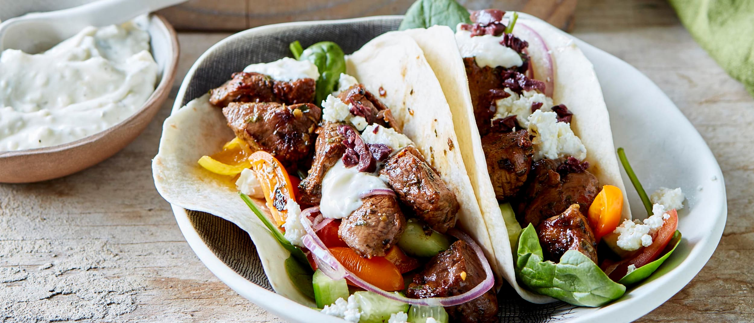 Greek lamb and feta tacos