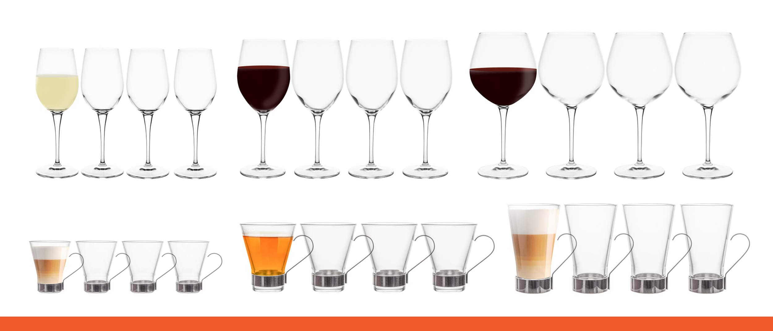 Wheel & Barrow: $20 for a set of 4 wine glasses or coffee glasses