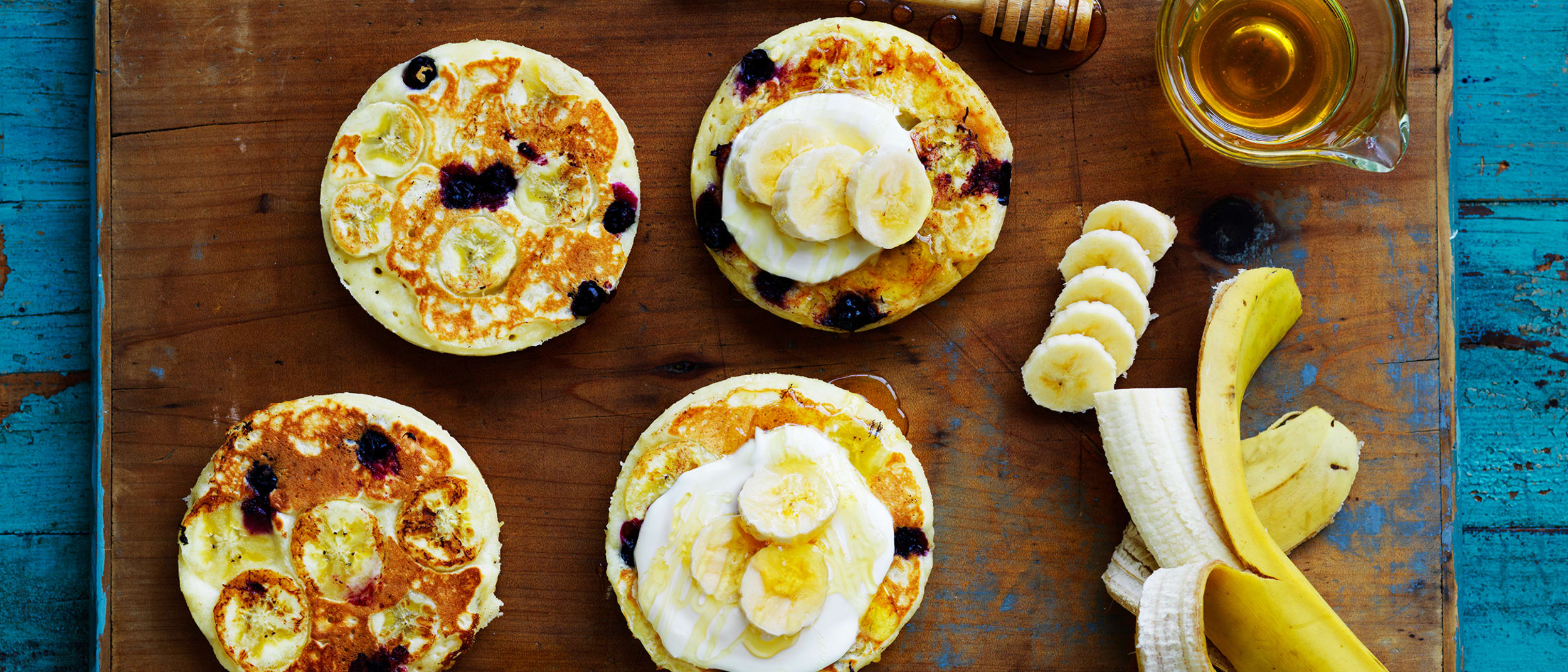 Banana and blueberry buttermilk pancakes