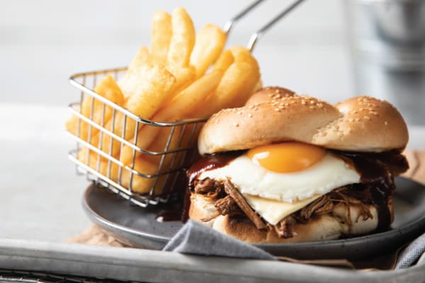 Brisket & egg burger now at Bucking Bull