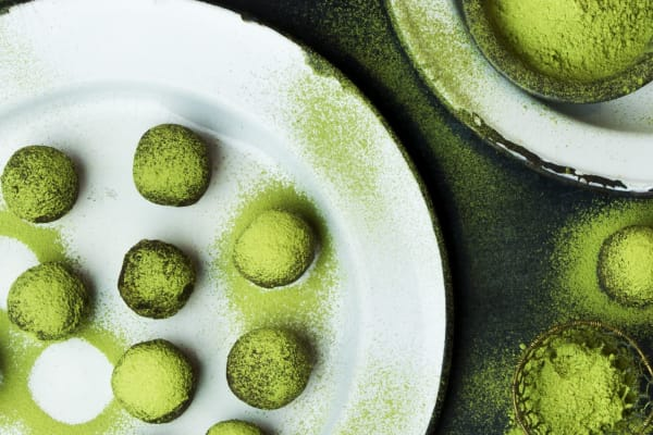 T2 recipe: matcha cacao bliss balls