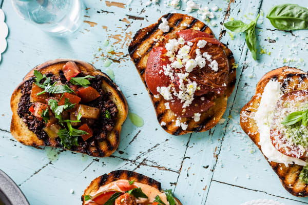 Kumato® tomato, olive & eggplant bruschetta