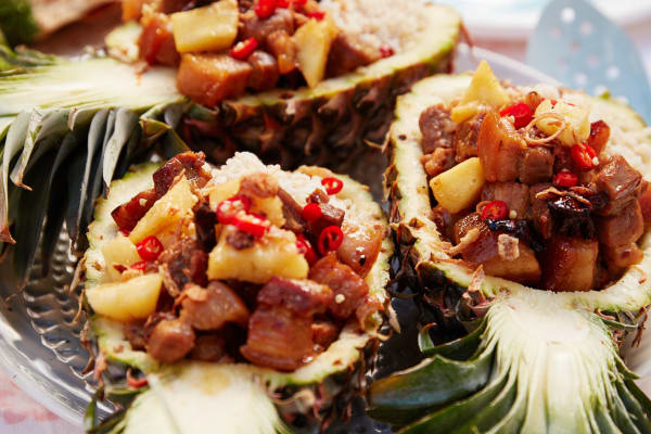 Recipe: Vietnamese Caramel Pork Belly in Pineapple Halves