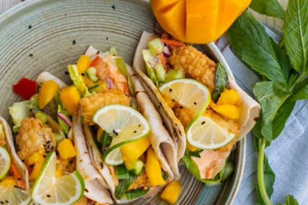 The Shed: crumbed squid tacos with lime and mango