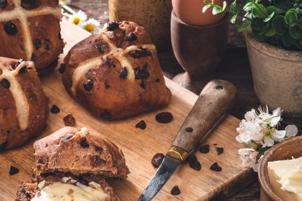 The simply irresistible hot cross bun made with Cadbury