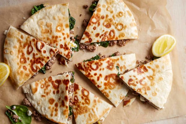 Beef, spinach and feta gozleme