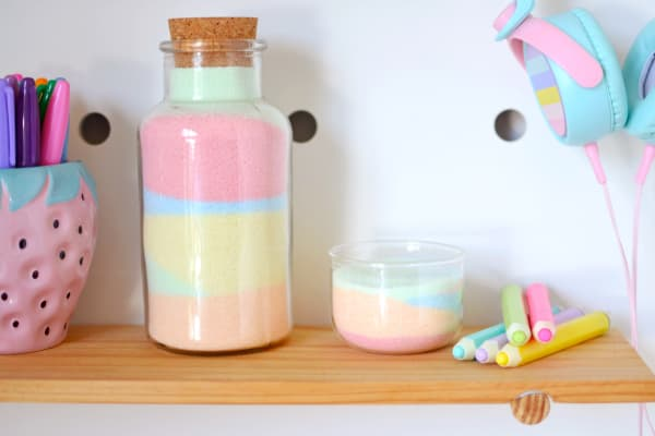 DIY coloured sand bottles