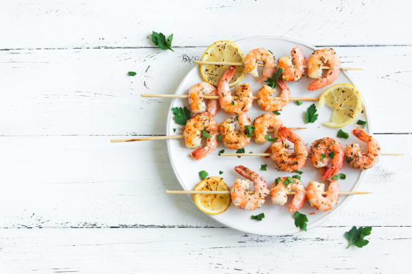 Moroccon prawn skewers with mango and lime salsa