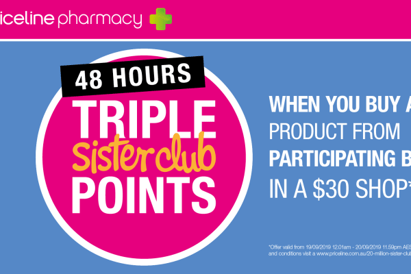 Priceline Pharmacy: 48 Hour Triple Sister Club offers