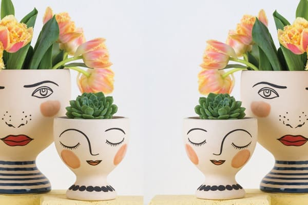 Quirky face vases at Monsterthreads