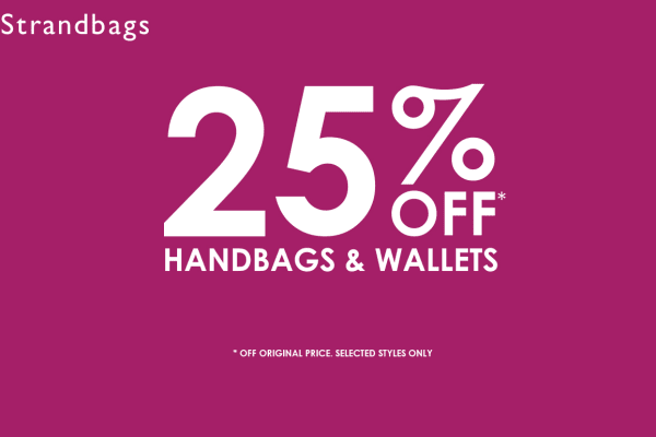 Strandbags:  25% off handbags and wallets