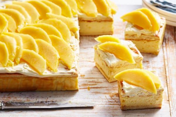 Mango cheesecake slice