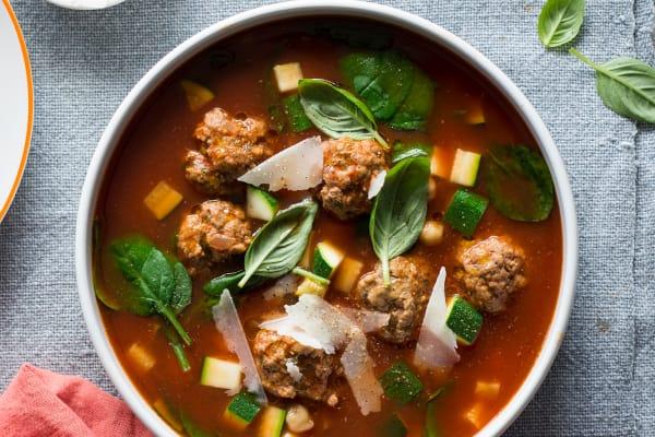 Meatball, zucchini & chickpea soup