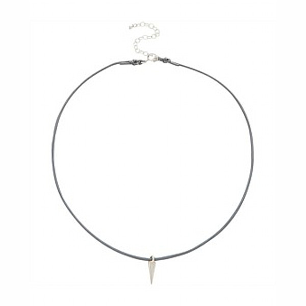 Dogeared Pebble Leather Choker With Sterling Silver Spike Adjustable