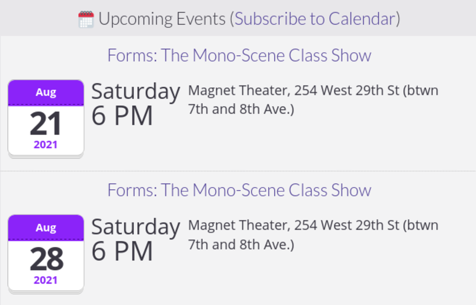 Screenshot of a list of upcoming events from this site's homepage. Show details and links in this post.
