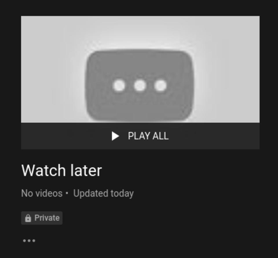 screenshot of YouTube web interface showing an empty Watch later playlist